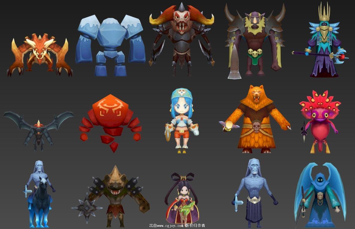 某手游角色模型大集合,附带一部分武器和场景小道具.jpg