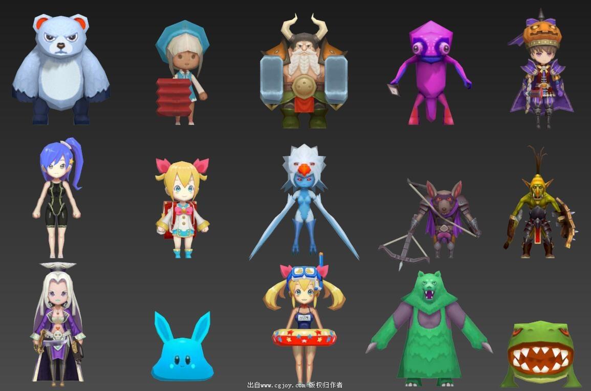 某手游角色模型大集合,附带一部分武器和场景小道具_03.jpg
