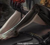 初學者怎么畫賽博朋克風的腿部?機械腿怎么畫?有什么技巧嘛?
