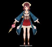 日式RPG女角色 带骨骼带贴图 魔法女孩