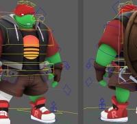 转发一波免费maya绑定模型eva 悟空 ryu 银河战士 忍者神龟等