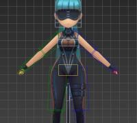 Q版剑灵蓝发墨镜时装女带CS绑定、带跑步动作