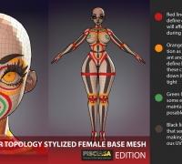 风格化基础女性人体素模-绑定蒙皮学习参考