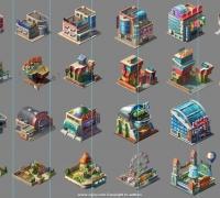 Q版现代建筑场景设计文件参考PSD格式
