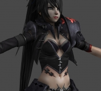 游戲女性角色模型 max 已綁定