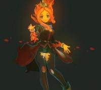 [CG模型] 超棒的卡通火焰精灵女孩模型下载