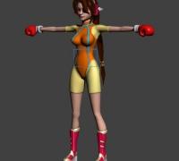 可爱少女拳手造型,max源文件