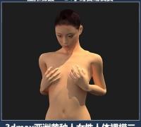 3dmax影视游戏人物角色亚洲黄种人女性人体参考裸模二已绑定骨骼