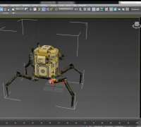 Rigging a spider robot with 3ds max with bones.