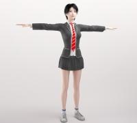 韩系校服短发学生美女