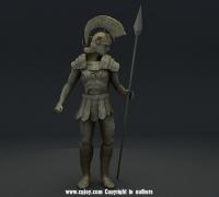 3dmax三渲二罗马战士雕塑一