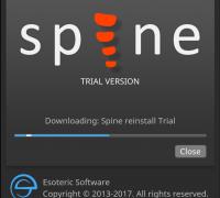 新安装的spine首次打开等待下载downloading:Spine reinstall Trial