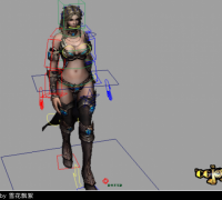 带走路动作的美女maya模型