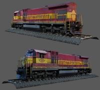 低模火车模型带铁轨 贴图齐全