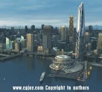 影视级 科幻场景 科幻城市 港口 未来城市鸟瞰 3Dmax模型