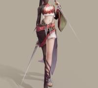 游戏一个美女刺客3D模型(带待机动作的)