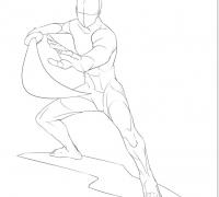漫画人体持各式武器打斗械斗动作姿态线稿 poss动作狮设计参考