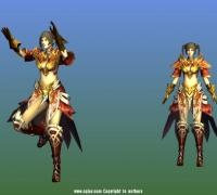 红色盔甲女带动作显战斗贴图
